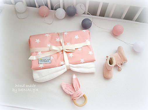 Textil - Deka SIMPLE PREMIUM bavlna ružová/hviezdička trojvrstvová 70x90cm - 8663009_