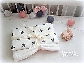 Textil - Deka SIMPLE PREMIUM bavlna šedá hviezdička trojvrstvová 70x90cm - 8663147_