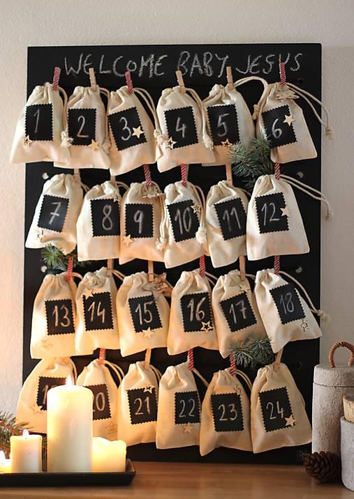 Tabuľky - Tabuľová nástenka - alebo adventný kalendár  v škandinávskom štýle 2v1  - 8661182_