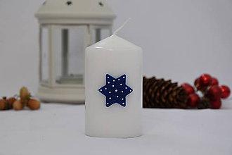 Svietidlá a sviečky - sviečka s modrou hviezdou - 8660331_