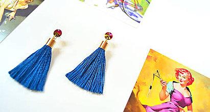Náušnice - ♥VÝPREDAJ♥ Náušnice PINK GOLD SEA BLUE TASSEL - 8661309_