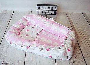 Textil - Hniezdo pre bábätko ružové sloníky s hviezdičkami - 8661729_