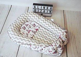 Textil - Hniezdo pre bábätko ružovo-sivé indiánske - 8661769_