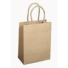 Papier - Papierová taška s uškom, natur – sada 12 ks. - 8662616_