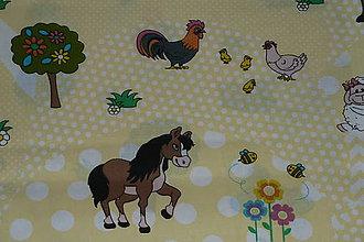 Textil - Látka Zvieratká na žltej - 8661098_