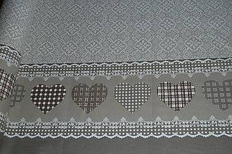 Textil - Látka Bordúra srdce natur - 8663422_