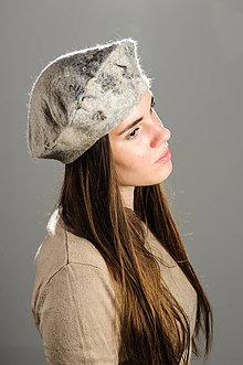 Čiapky - Béžová Francúzska baretka, Merino vlna, Plstená - 8662066_