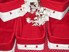 Košíky - Košíky - Biele v červenej košieľke - 8661356_