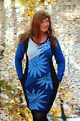 Šaty - Dámske šaty midi, batikované, maľované, etno MODRO - 8660973_