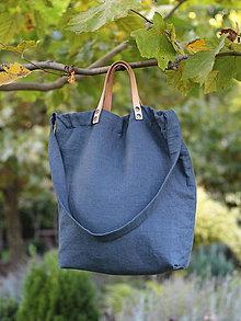 Veľké tašky - Dámska tmavomodrá kabelka z francúzskeho ľanu