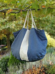 """Veľké tašky - Veľká nákupná taška z francúzskeho tmavomodrého ľanu """"ToteBag"""" - 8662773_"""