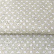 Textil - svetlobéžové srdiečka, 100 % bavlna, šírka 140 cm, cena za 0,5 m - 8660422_