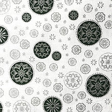 Textil - zeleno-strieborné vianočné vločky, 100 % bavlna, šírka 140 cm, cena za 0,5 m - 8660675_