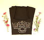 - Čierne maľované tričko so štvorcovým výstrihom - 8661408_