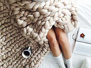 Úžitkový textil - Obria pletená deka Merino - 200x220 - 8662523_