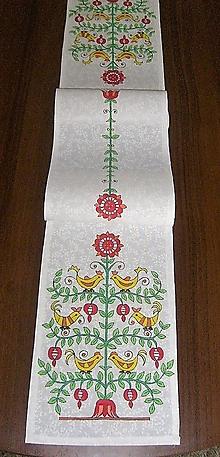 Úžitkový textil - Maľovaný stredový obrus - biely,  20 x 130 cm - 8661038_
