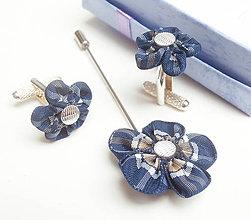 Šperky - Pánsky set manžetové gombíky a pin na sako modré škótske káro (tartan) - kockované - 8659971_