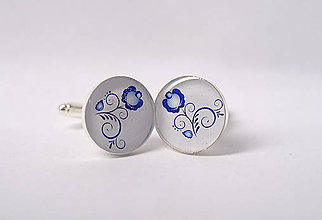 Šperky - manžetky ľudové s modrým kvietkom - 8661351_