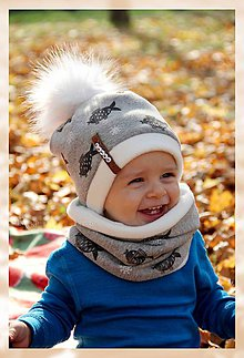 Detské súpravy - Zimný set Obojstranný s Odopínacím brmbolcom kapor & ivory - 8663679_