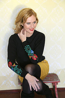 Mikiny - Maľovaná mikina - folk kvety na rukávoch... - 8660560_