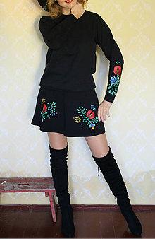 Mikiny - Maľovaná mikina - folk kvety na rukáve... - 8660734_