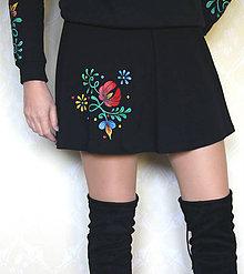 Sukne - Maľovaná sukňa s folk kvetom... - 8660918_