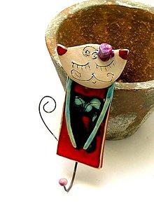 Nábytok - mačka vešiak červená - 8660644_