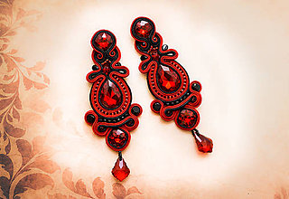 Náušnice - Šujtášové náušnice Flamenco - 8660499_