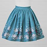 Sukne - Diva Bara - bavlnená sukňa - hýľ a čerešňový kvet - 8662374_