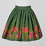 Sukne - Diva Bara - bavlnená sukňa - sýkorka a pivónia - 8662381_