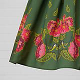 Sukne - Diva Bara - bavlnená sukňa - sýkorka a pivónia - 8662382_