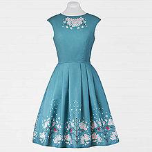 Šaty - Modré šaty - hýľ a čerešňový kvet - 8663028_