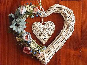 Dekorácie - Modro-sivo ružové srdce - 8664139_