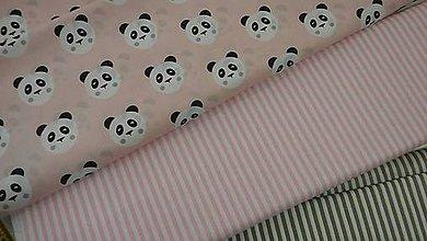 Textil - Detská - pandy na ružovom podklade š.160 - 8662506_