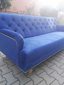 Nábytok - Modrá čalunená sedačka - 8663153_