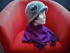 Čiapky - Eila IV. - hačkovaný klobúčik - 8661722_