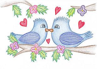 Kresby - Hrdličky? Jednoducho zamilované vtákoviny - 8661689_
