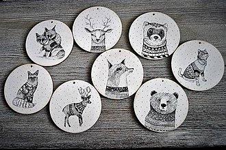 Dekorácie - Sada vianočných ozdôb zvieratiek v zimnom svetríku - 8663015_