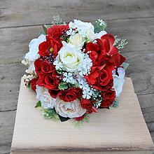 Kytice pre nevestu - Svadobná kytica ohnivo červená so smotanovou - 8667166_