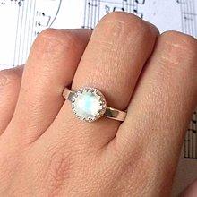 Prstene - Zľava z 39,90€ / Silver Plated Natural Moonstone Ring / Postriebrený prsteň s mesačným kameňom - 8666121_