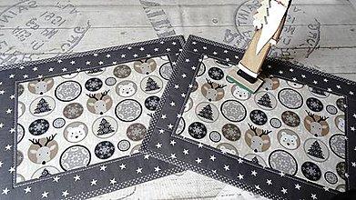 Úžitkový textil - Vianoce na šedo- béžovej... prestieranie 2 ks - 8668483_