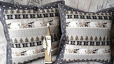 Úžitkový textil - Vianoce na šedo-béžovej ... vankúš - 8668531_