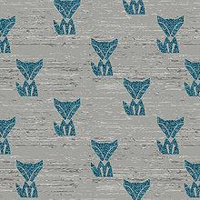 Textil - Počesaná teplákovina - Líšky glitter - 8668156_