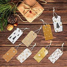Papiernictvo - Vianočné etikety 8 kusov - zlatočierne - 8666440_