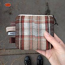 Peňaženky - vlněná kapsička hnědé káro, zpevněná - 8667117_