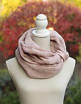Šály - Dámsky jemný a hrejivý nákrčník ružovohnedej farby s remienkom - 8665834_