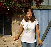 - Biele tričko s maľbou kvetu, alebo bylinky podľa vášho želania - 8664608_