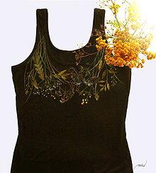 Tielka - Čierne tielko s maľovanými lúčnymi kvetmi - 8665000_