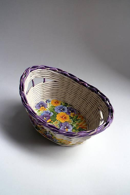 Košík papierový - Fialový malý | Fialky I
