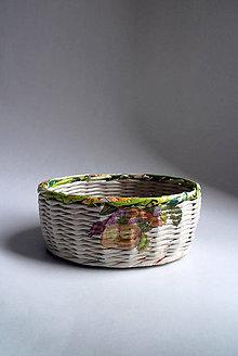 Košíky - Košík papierový - Zelený malý | Žlté kvety II - 8667295_